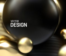 Black and golden sphere abstract background vector