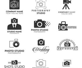 Black icons photographers set vector