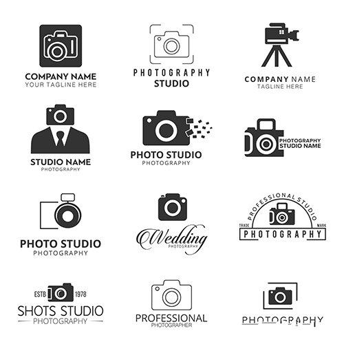 Black icons photographers set vector