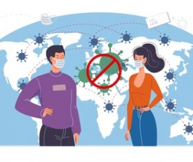Blocking the covid-19 pandemic cartoon illustration vector