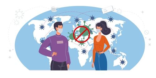 Blocking the covid 19 pandemic cartoon illustration vector