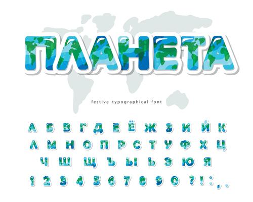 Blue and green alphabet editable font effect vector