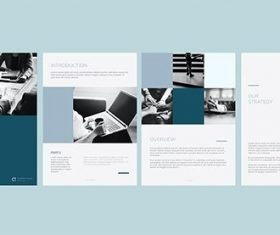 Blue business annual report template vectors set