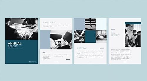 Blue business annual report template vectors set