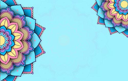 Blue mandala background pattern vector