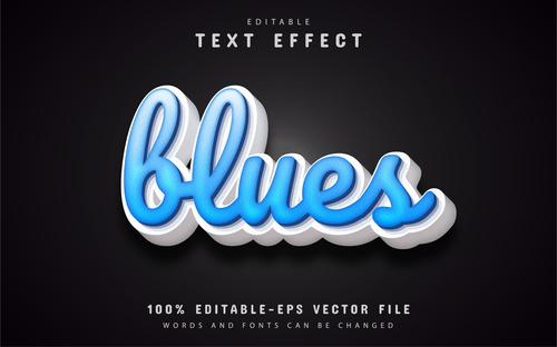 Bluesz font text effect editable vector