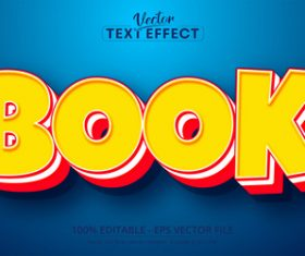 Book font 3d editable text style effect vector
