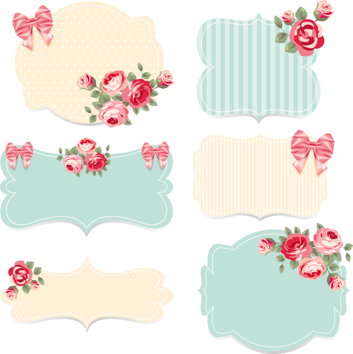 Bow and flower decoration wedding invitation vector