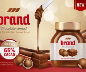 Brand chocolate spread promotional flyer vector