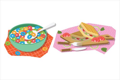 Breakfast food illustration vector