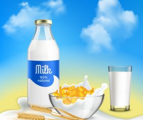 Breakfast must-have fresh milk advertising vector