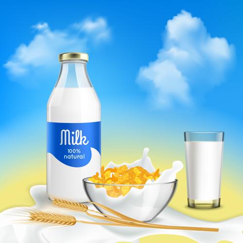 Breakfast must have fresh milk advertising vector