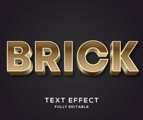 Brick 3d editable text style effect vector