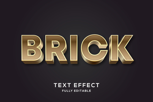 Brick 3d editable text style effect vector