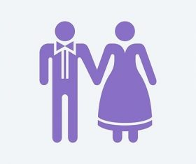 Bride and groom holding hands graphic illustration vector