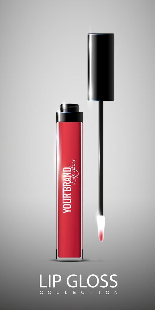 Bright red lip gloss vector
