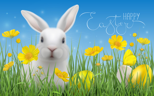 Bunny and Easter eggs in the grass vector