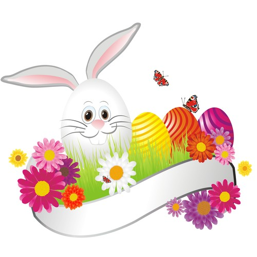 Bunny and white banner with easter eggs vector