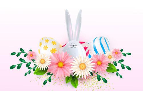 Bunny egg easter background vector