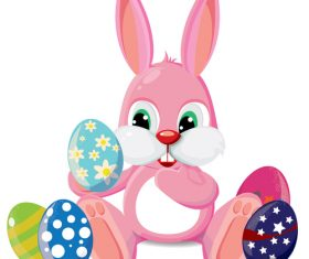 Bunny holding an egg background vector
