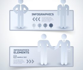 Business cooperation paper cut infographic banner vector