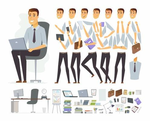 Business male character constructor cartoon vector
