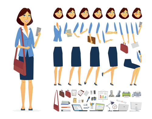 Business woman character constructor vector