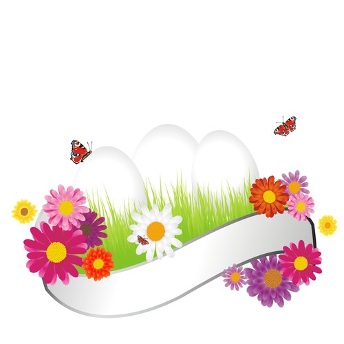 Butterflies and white banners with colorful eggs vector