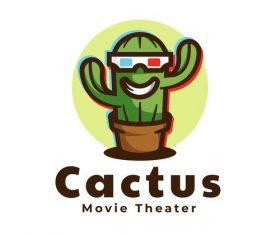 Cactus logo mascot design vector