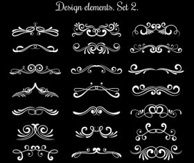 Calligraphic decorative scroll elements vector