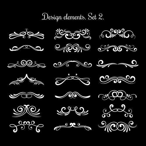 Calligraphic decorative scroll elements vector