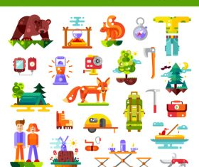 Camping and hiking travel icons vector