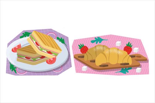 Cartoon breakfast food illustration vector