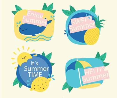 Cartoon hand drawn summer element vector