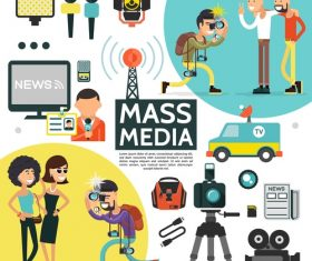 Cartoon illustration mass media vector