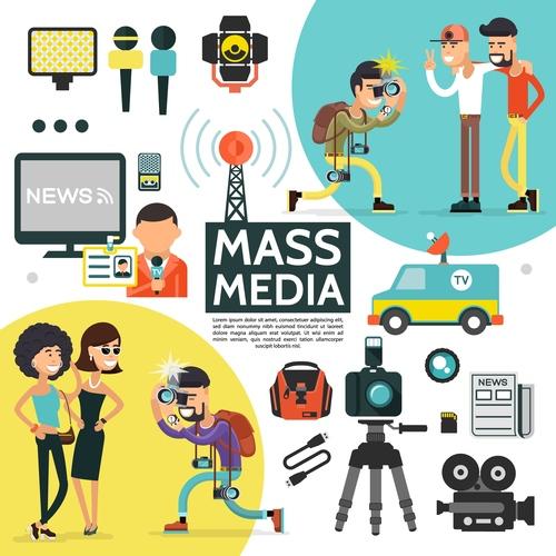 Cartoon illustration mass media vector