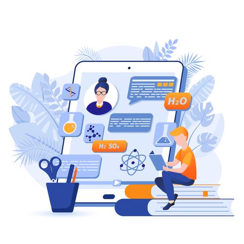 Cartoon illustration online learning vector