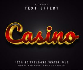 Casino gold font text effect editable vector