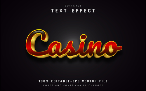 Casino gold font text effect editable vector