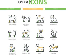 Cat breeds modern line design style icons vector