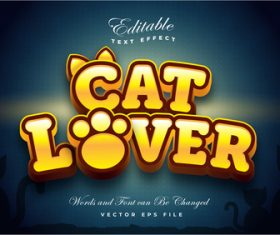 Cat lover font 3d editable font text effect vector