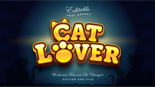 Cat lover font 3d editable font text effect vector