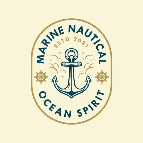 Chic nautical badge logo design vector