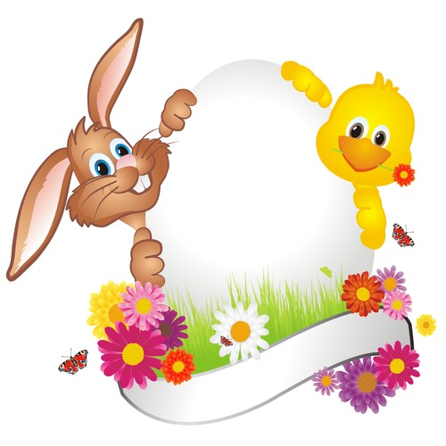 Chick and bunny easter card vector