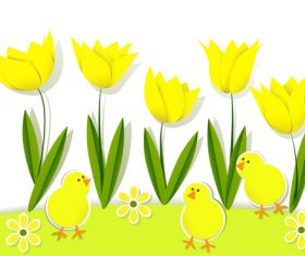 Chick and tulip cartoon illustration vector