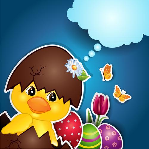Chick egg blue background vector