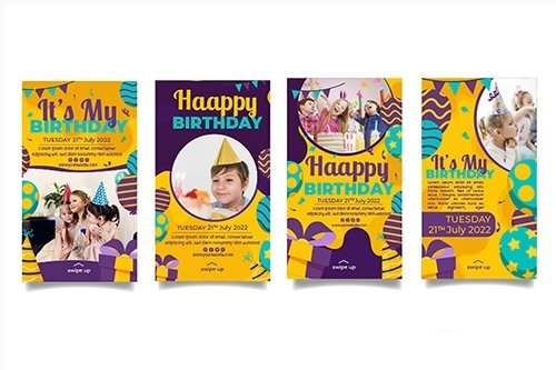 Childrens birthday instagram story templates vector