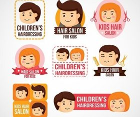 Childrens hairdressing logos vector