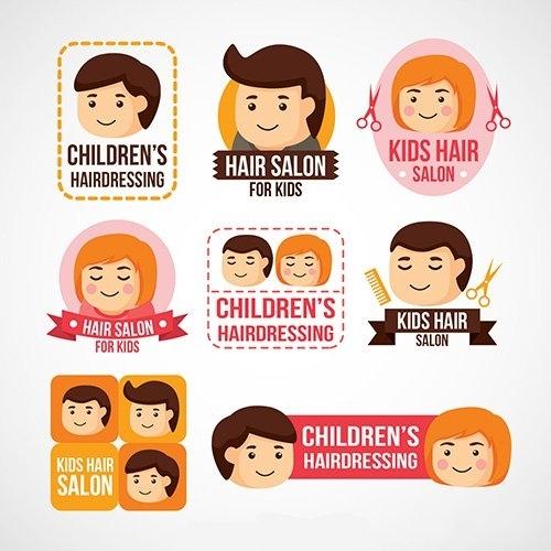 Childrens hairdressing logos vector
