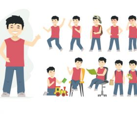 Chinese boy cartoon people character vector